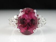 14K Rubellite Tourmaline Diamond Ring White Gold Fine Jewelry Genuine Pink