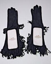 New Hermes Mid-Length Fringed Gloves Size 7 Eu Black Suede France Vintage