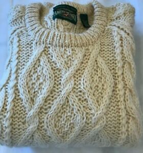 American Eagle mens fisherman's sweater sz L Icelandic wool vintage cable bulky