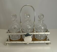More details for antique partner's oak and silver plate tantalus / decanters dated 1885