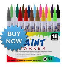 Art Supply Paint Pen Markers Set of 18-Colors Point Tip Oil Based Permanent Ink