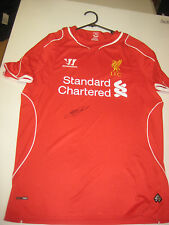 LIVERPOOL- STEVEN GERRARD HAND SIGNED 2014-15 HOME JERSEY+ PHOTO PROOF + C.O.A