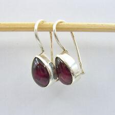 Granat Ohrhänger Sterling Silber 925 Ohrringe Tropfen Modern Cabochon HV