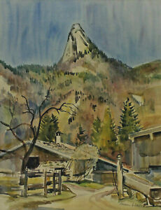 Signed Dated 55 - Mountain Landscape Leonhardstein Tegernsee Kreuth