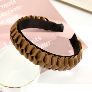 Solid Color PU Hairband Faux Leather Ladies Braid Non-slip Headband Accessories