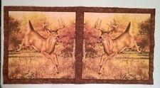 """Deer Pillow Quilt Panels 2 ( 15 x 15"""" ) Brown Buck Crafts Sew"""