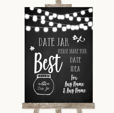 Wedding Sign Poster Print Chalk Style Black & White Lights Date Jar Guestbook