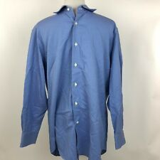 David Donahue Mens Blue Check Collar Button Up Dress Shirt Trim Size 17 32/33