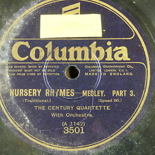 78rpm CENTURY QUARTETTE nursery rhymes medley , part 3&4 only COLUMBIA 3501