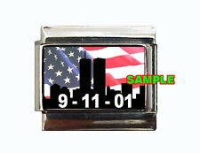 9 11 Twin Towers Custom Italian Charm With USA Flag New York City Skyline