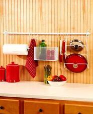 8-Pc. White Metal Kitchen Wall Storage Wall Mount Paper Towel Holder Organizer