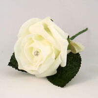 Ivory Artificial Diamante Rose Buttonhole - Wedding Flowers