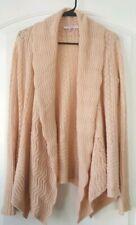 $395 Calypso St Barth Chama Cashmere Lacey Pointelle Shawl Sweater Pink XS #0183