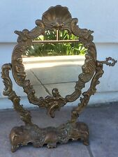 Antique Art Nouveau Coppertone French Ornate Cherubs Angels Vanity Stand Mirror