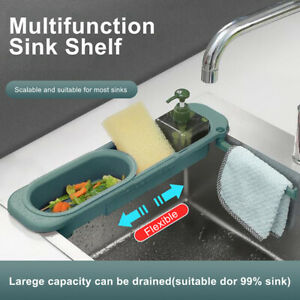 Kitchen Telescopic Sink Rack Shelf Rack Expandable Sponge Drain Storage Basket