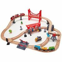 Hape Busy City Train Rail Set | Complete City Themed Wooden Rail Toy Set For