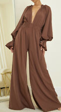 Pretty Little Thing 12 Chcolate Brown Shirred Wide Leg Jumpsuit Chiffon Plunge