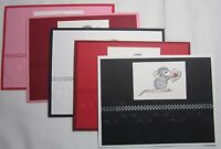House Mouse Happy Valentine's Day Handmade Card Lot Set 5 Hearts Pinks Reds