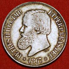 Brazil. 500 Reis 1867 . Silver Coin