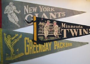 Vintage NY Giants, Green Bay Packers, Minnesota Twins Pennants