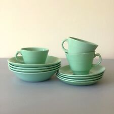 11 Items Vintage 1940's Wood's Ware Beryl: Cups/Saucers/Bowls Green Utility