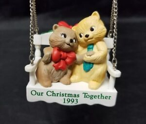 Hallmark Our Christmas Together 1993 Cats On A Swing Christmas Tree Ornament