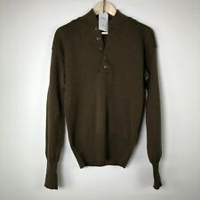 100% Wool Army Military Sweater 5 Buttons  Olive Color Size S 34-36