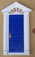 SCALA 1:12th Blu DIPINTO IN LEGNO FATA porta d'ingresso Casa delle Bambole Accessorio 95B