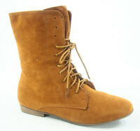 Women's Fashion Causal Low Flat Heel Lace Up Round Toe Boot Shoes Tan Color New