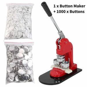 25mm Button Maker Machine Making Pin Button Badges Maker Press +1000 Cutter Kits