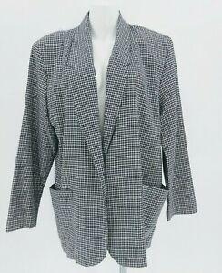 Vtg 80s Sellecca Houndstooth Boxy Blazer Jacket Tan Black White Boyfriend  Sz 12