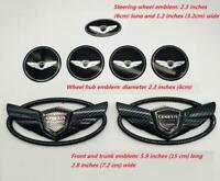 7Pcs For Hyundai Black Carbon Fiber Badge Front +Rear+steering+Hubcaps Emblem