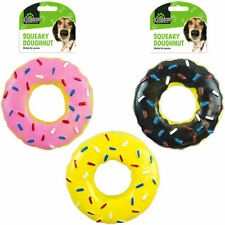 Pack of 3 Squeaky Doughnut Dog Rubber Play Chew Toy 13 cm Puppy Fun Chew Squeak