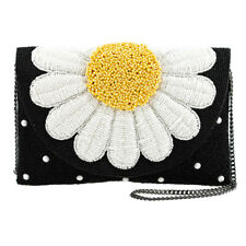 Mary Frances Oopsy Daisy Beaded Flower Crossbody Clutch Black Flower Purse New