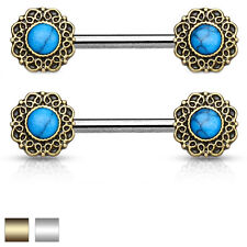Pair of Turquoise Center Tribal Heart Surgical Steel Nipple Rings Barbells 14G