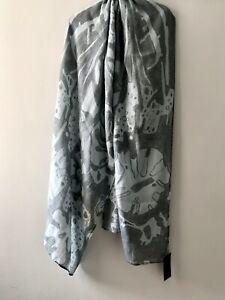Grizas - 100% Linen Printed Grey Abstract Long Scarf / Wrap