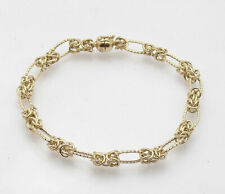 """7"""" Oval & Byzantine Bracelet with Magnetic Clasp Real 14K Yellow Gold FREE SHIP"""