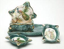 Antiques Porcelain Hand Painted Smoking Set: 2 Ashtrays, Cigarette Holder & Tray