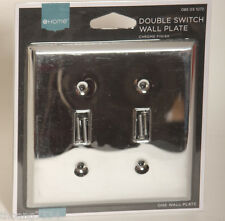 Double Light Switch Wallplate Wall Plate Outlet Cover Polished Chrome Finish