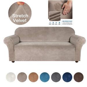 1/2/3/4 Seater VELVET Elastic STRETCH SOFA COVERS Slipcover Protector Settee UK