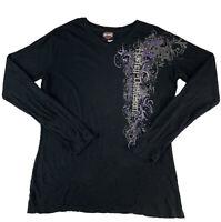 Harley Davidson Womens Long Sleeve Black T-Shirt California Size 2XL XXL