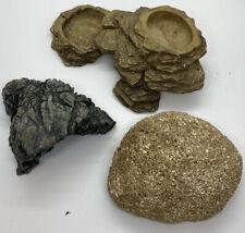 Reptile & Amphibian Cave Hide, Rock, feeding Rock. Terrarium Supplies,