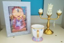Disney Parks Cogsworth Clock Lumiere Figure Chip Mug Beauty and the Beast SET