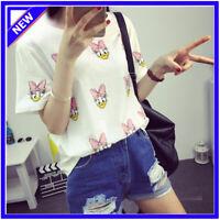Women Loose Short Sleeve Cotton Casual Blouse Shirt Tops Fashion Summer T-shirt