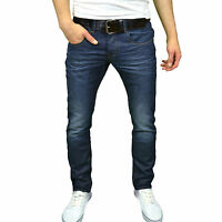 Crosshatch Mens Designer Slim Fit Vintage Darkwash Jeans, w/ Free Belt, BNWT