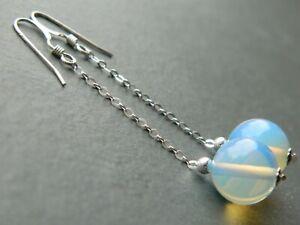 Smooth Round Opalite Moonstones, 925 Sterling Silver Long Drop Handmade Earrings