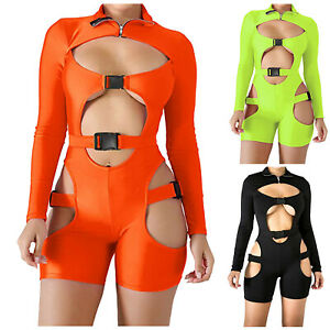 Women Tight-Fitting Buckle High-Neck Long-Sleeved Sexy Hollow Jumpsuit Suit Set