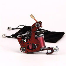 Steel Coil Tattoo Machine 10 Wrap Coils Tattoo Gun for Shader Liner Red
