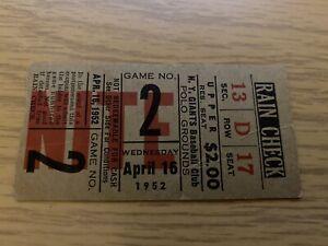NY Giants Ticket 4-16-52 Historic 1st Ever Night Season Opener NY History -Mays