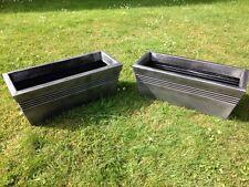 Set of 2 Long Trough Grey Resin Garden Planter Pot 59x24x23cm Indoor Outdoor